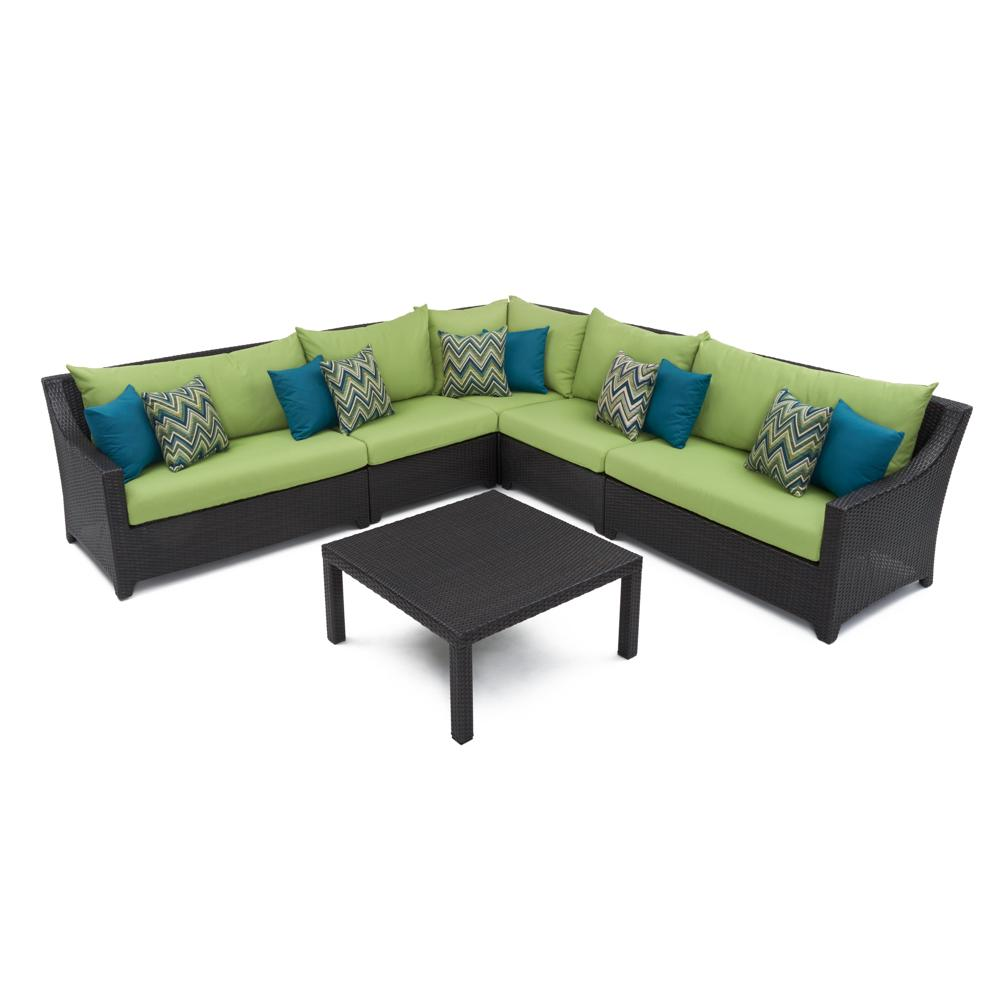Deco 6pc Sectional & Table - Ginkgo Green
