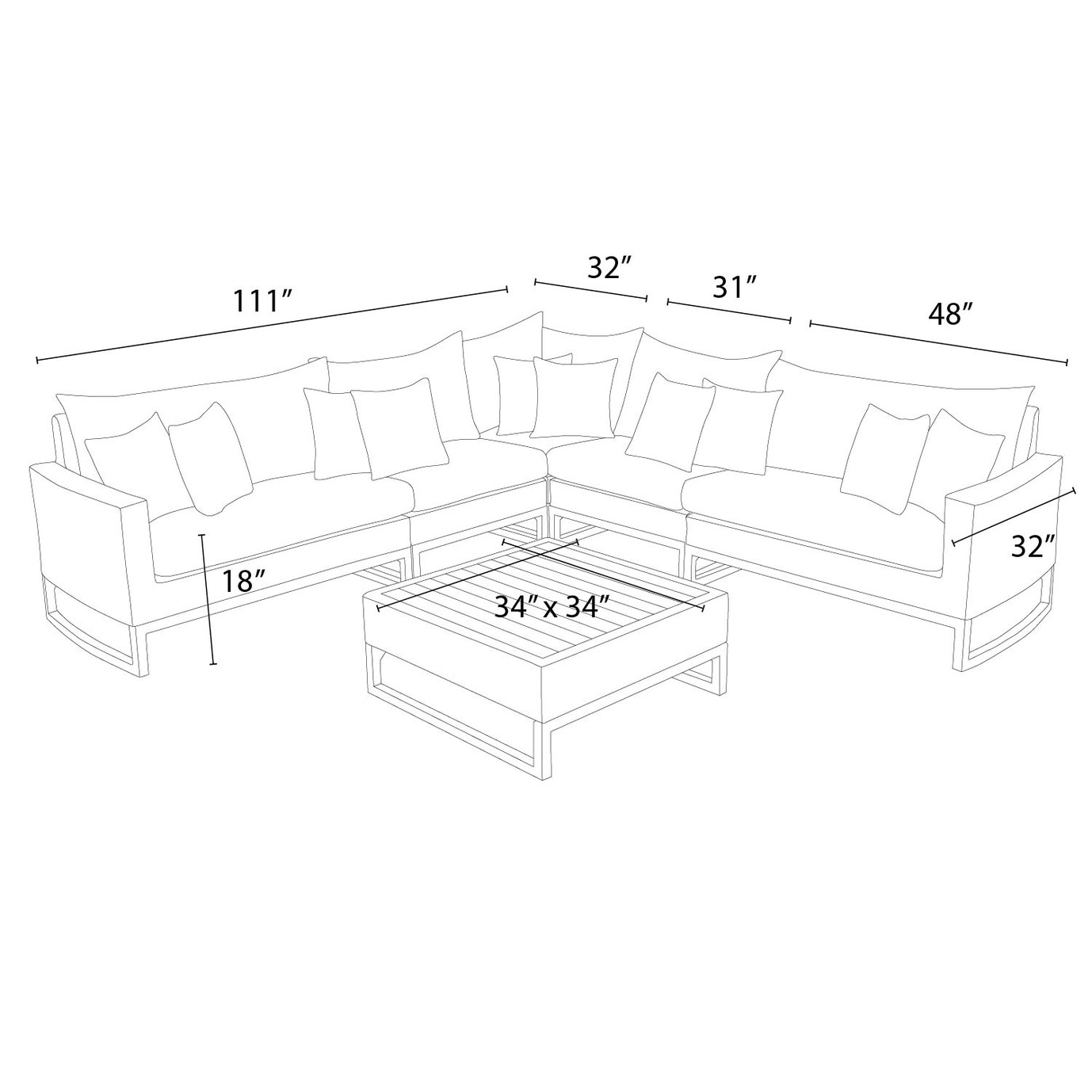 Mili™ 6 Piece Sofa Sectional - Maxim Beige