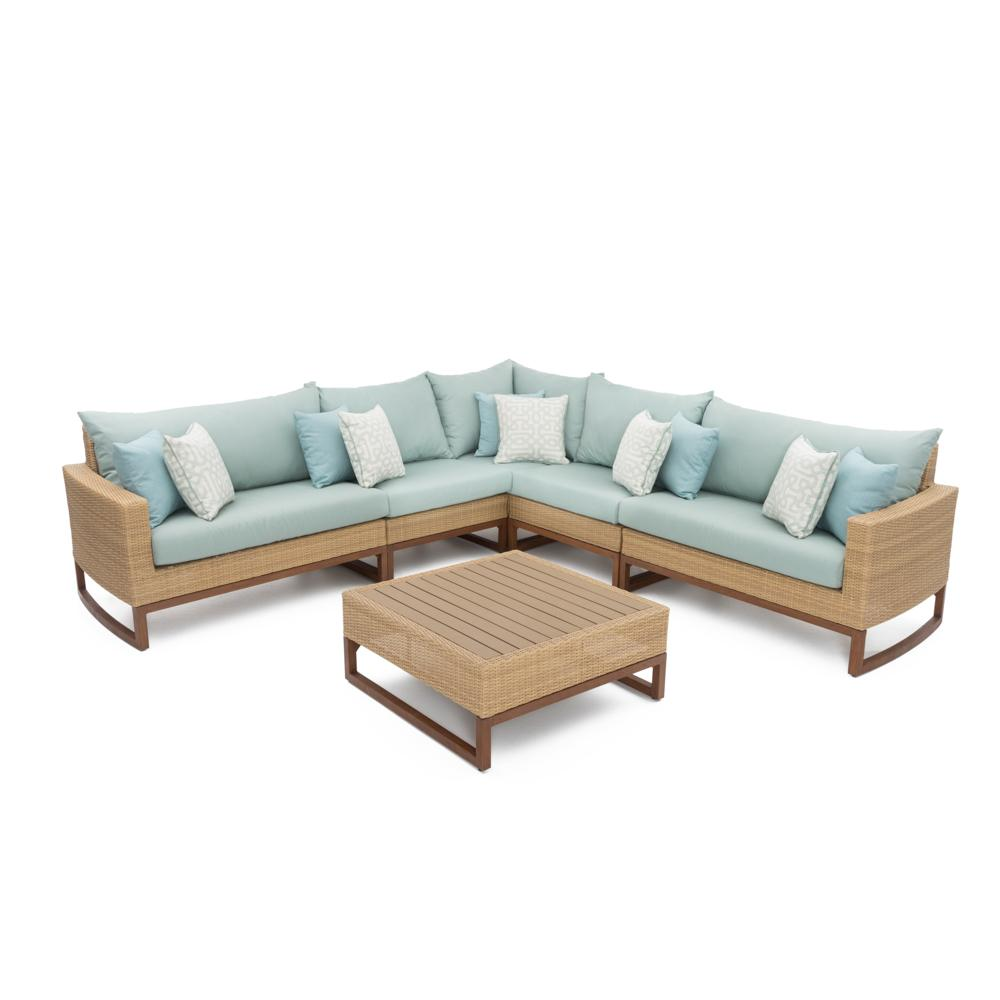 Milea 6pc Sectional and Table - Spa Blue