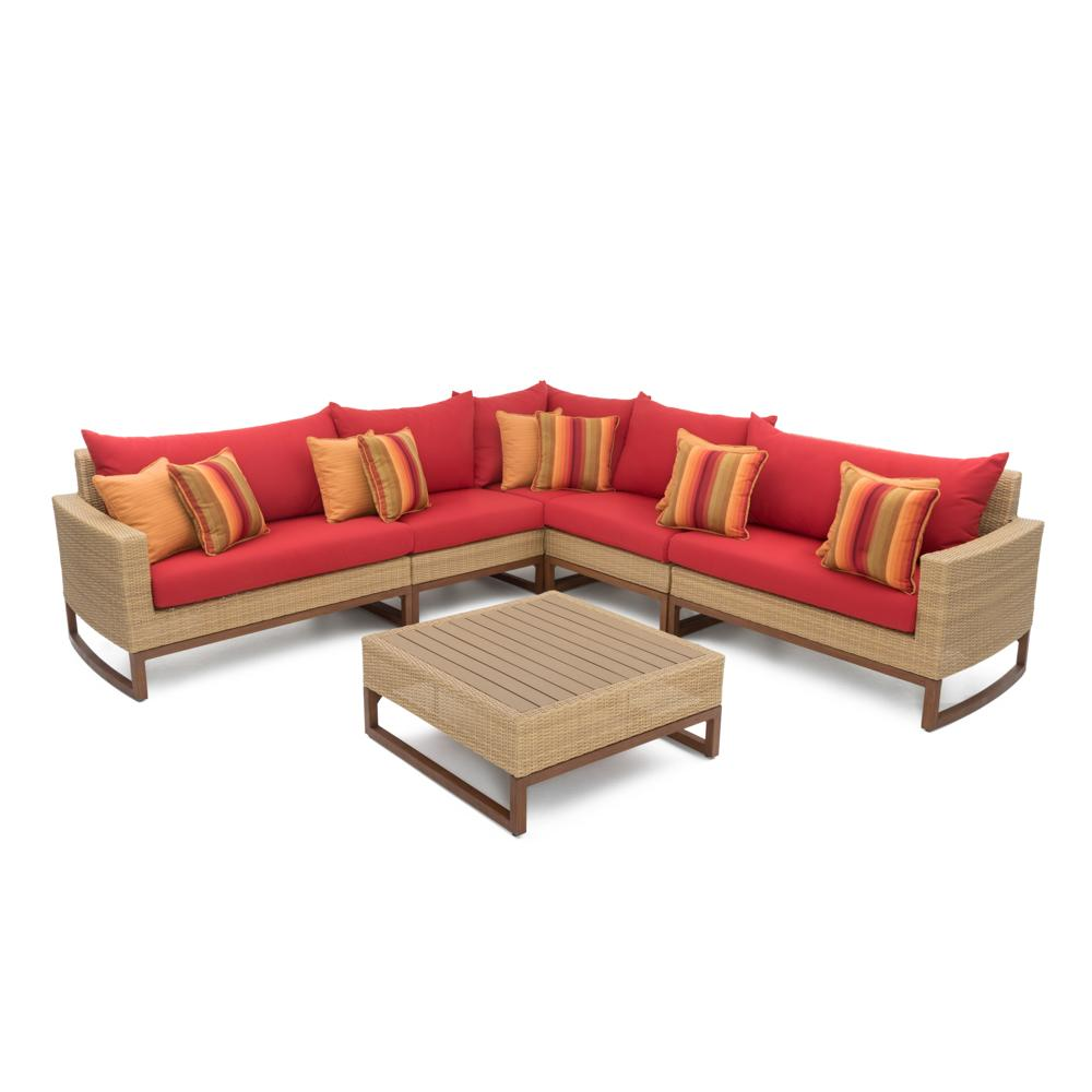 Milea 6pc Sectional and Table - Sunset Red