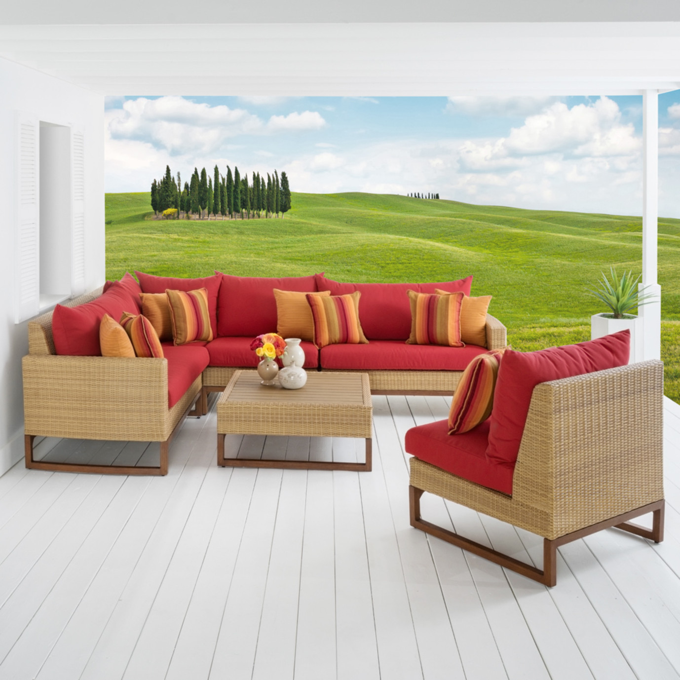 Mili™ 6 Piece Sofa Sectional - Sunset Red