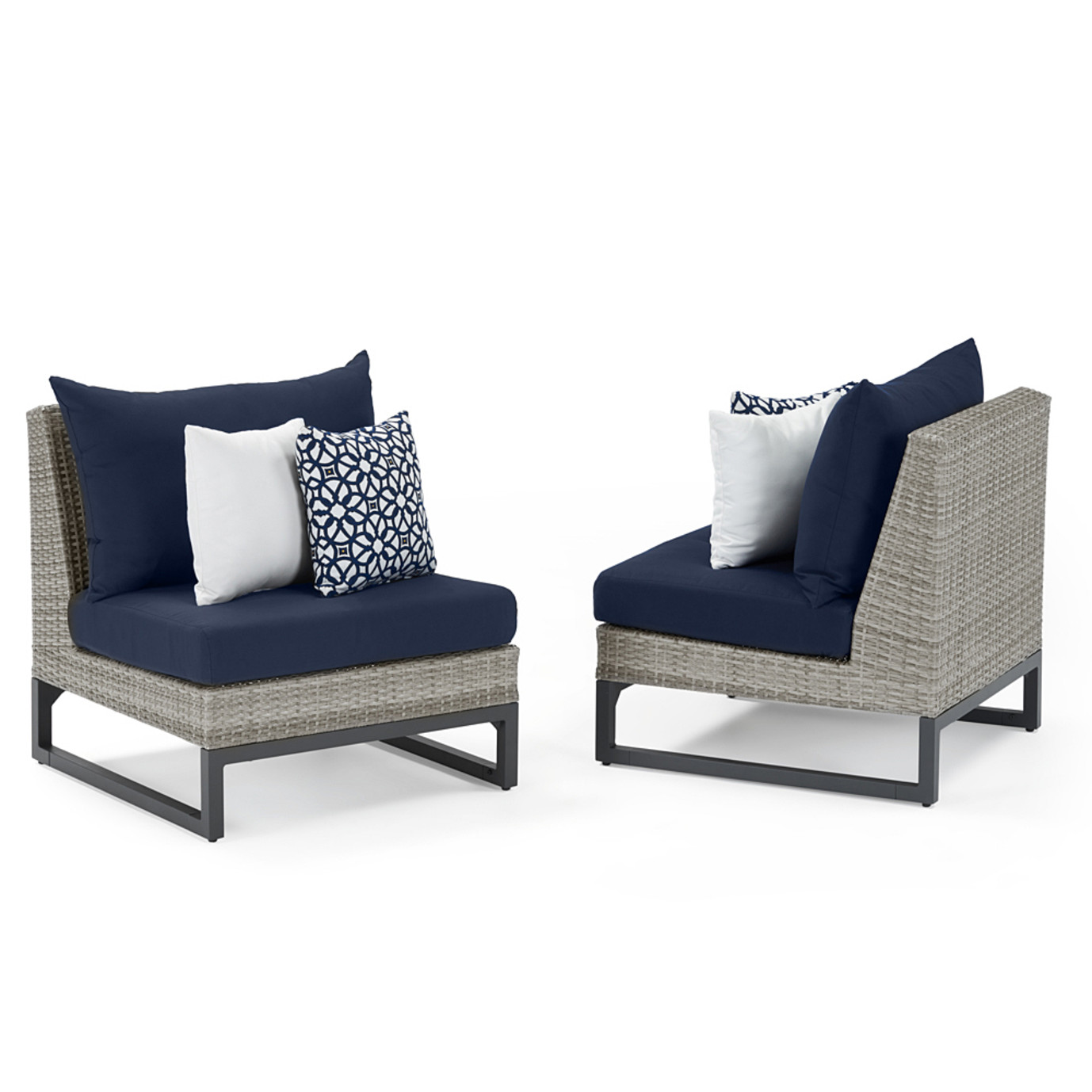 Milo Gray 6 Piece Sectional - Navy Blue