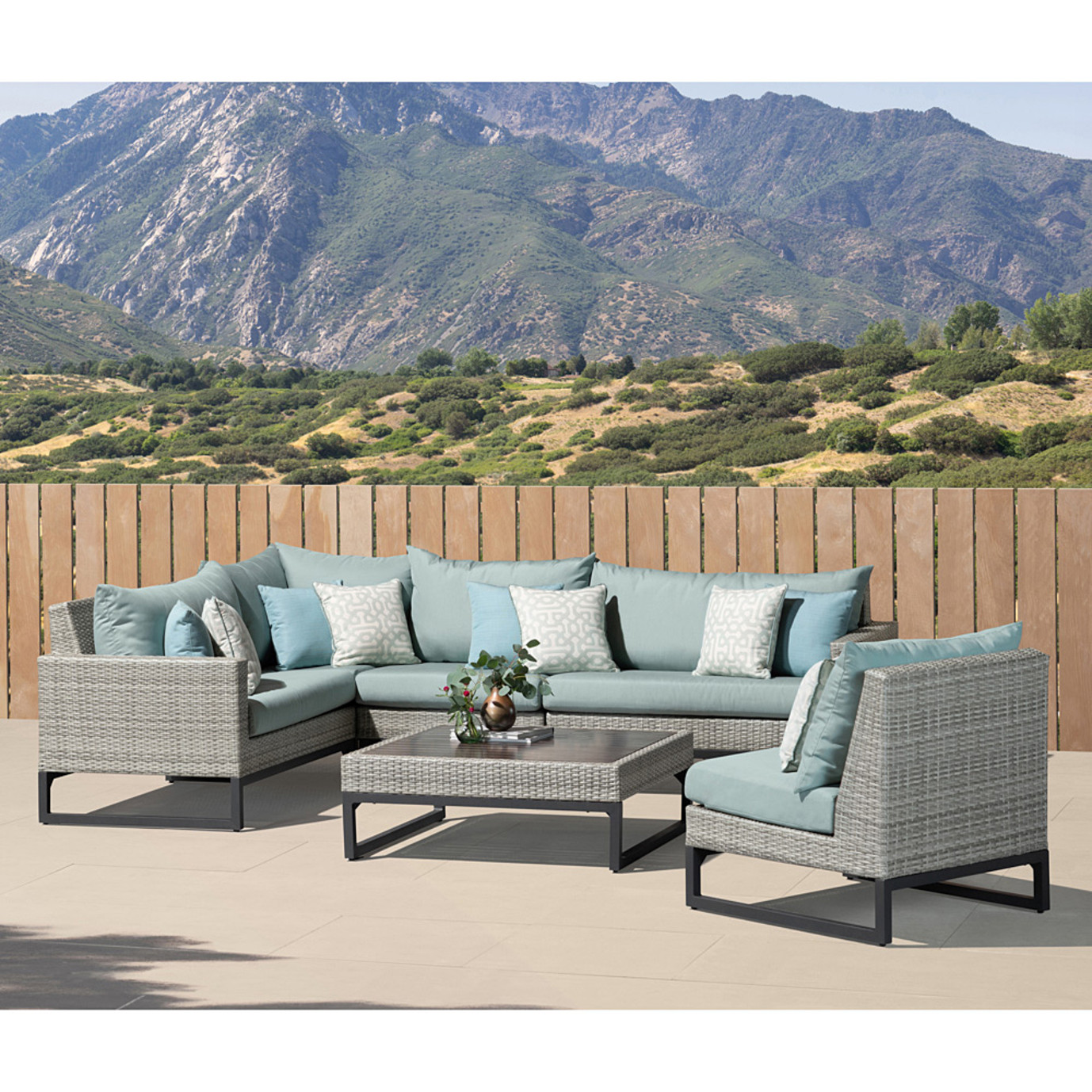 Milo Gray 6 Piece Sectional - Spa Blue