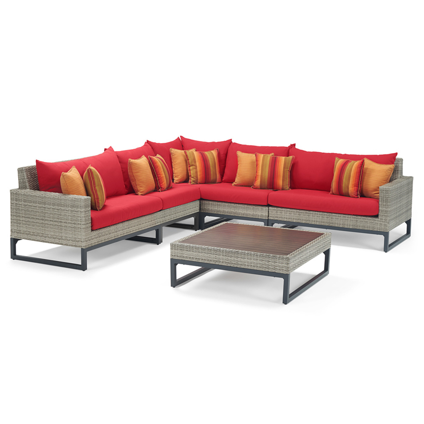 Milo Gray 6 Piece Sectional - Sunset Red