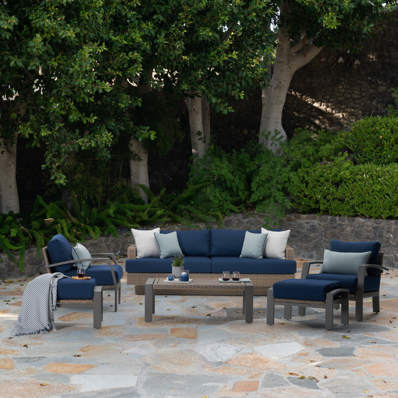 Portofino Repose 6pc Seating Set - Laguna Blue