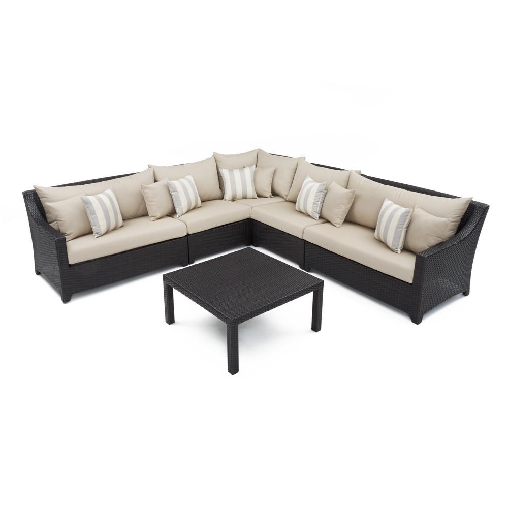 Deco 6pc Sectional & Table - Slate Grey