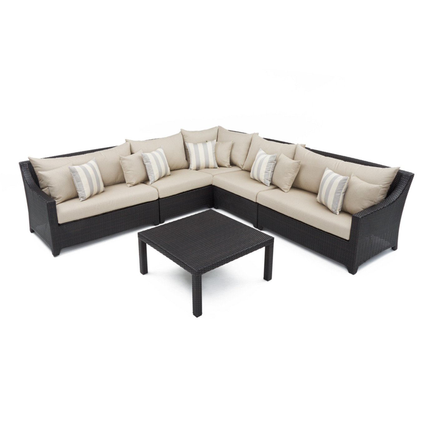 Deco™ 6 Piece Sectional and Table - Slate Gray