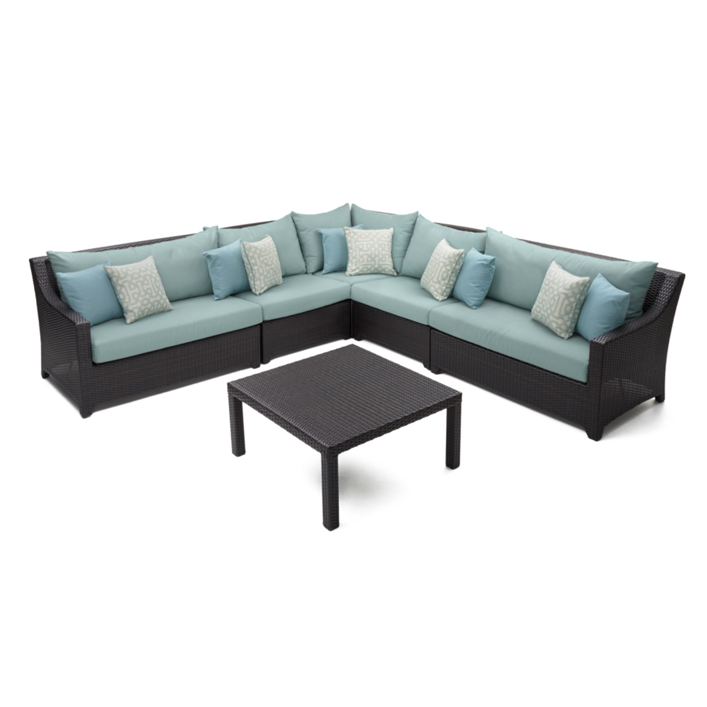 Deco™ 6 Piece Sectional and Table - Spa Blue