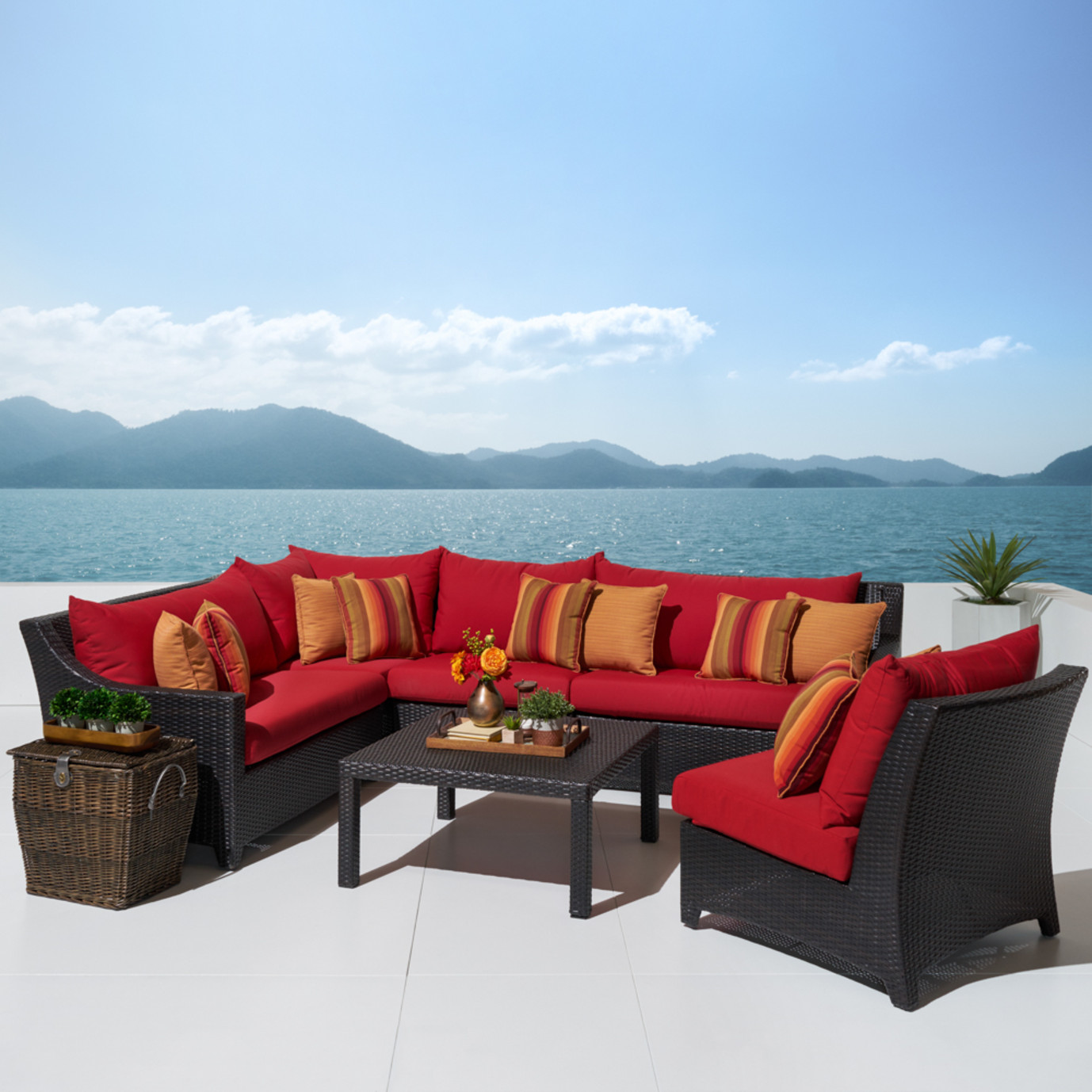 Deco™ 6pc Sectional and Table - Sunset Red