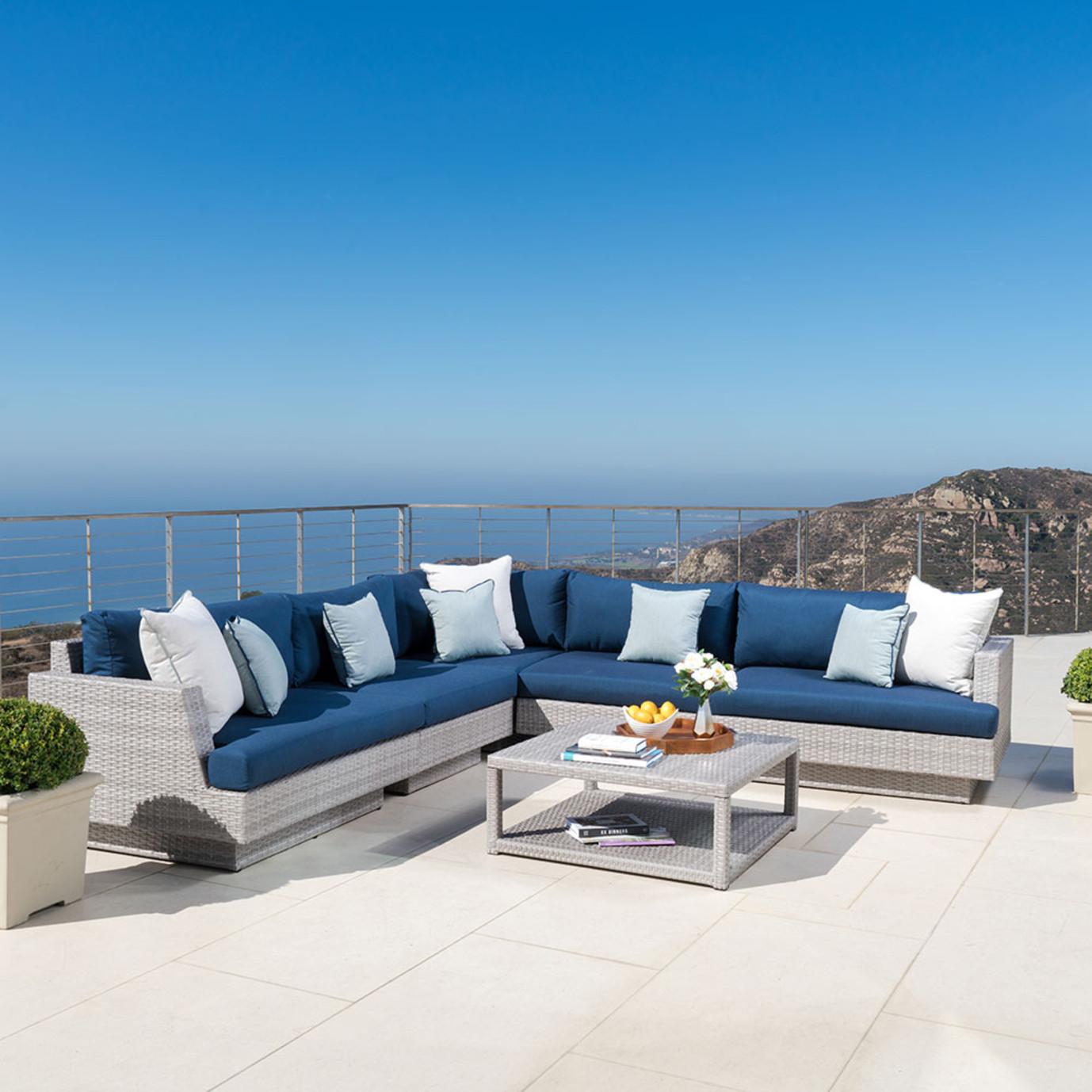 Portofino Comfort 6pc Sofa Sectional Laguna Blue Rst