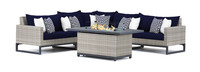 Milo™ Gray 6 Piece Fire Sectional - Navy Blue