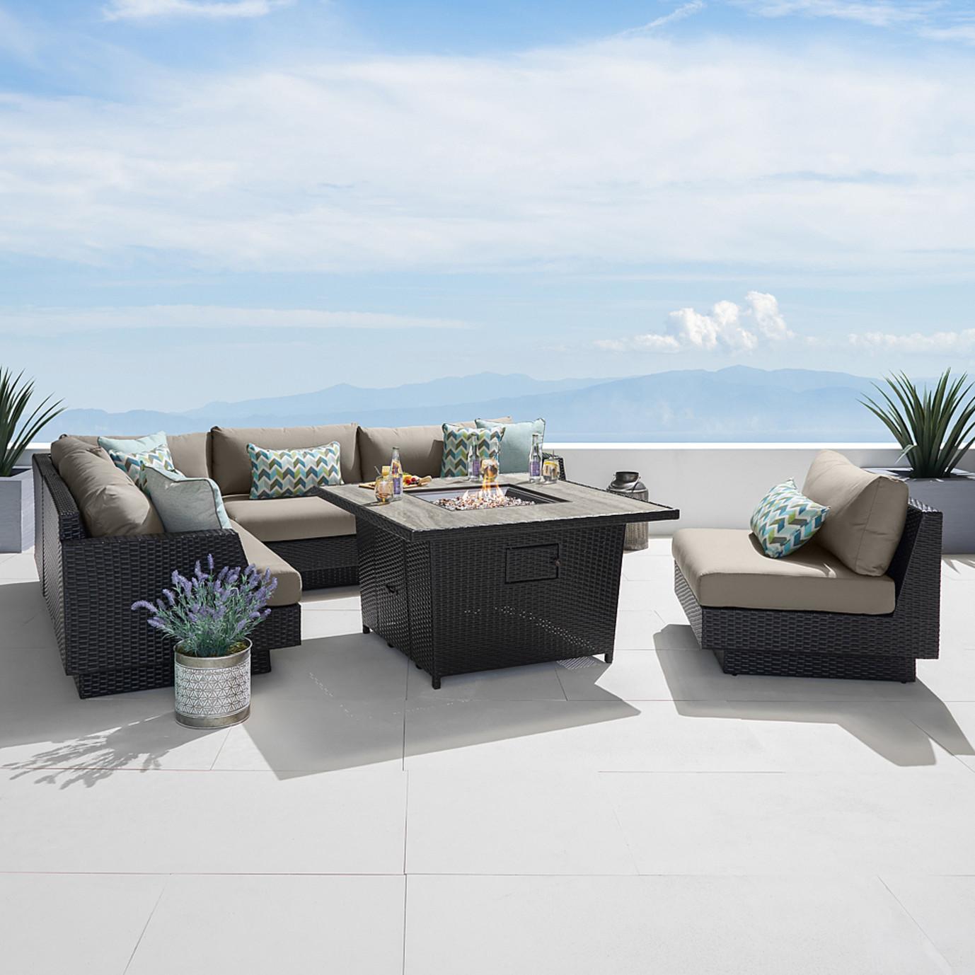Portofino Comfort 6pc Sectional With Fire Table Espresso