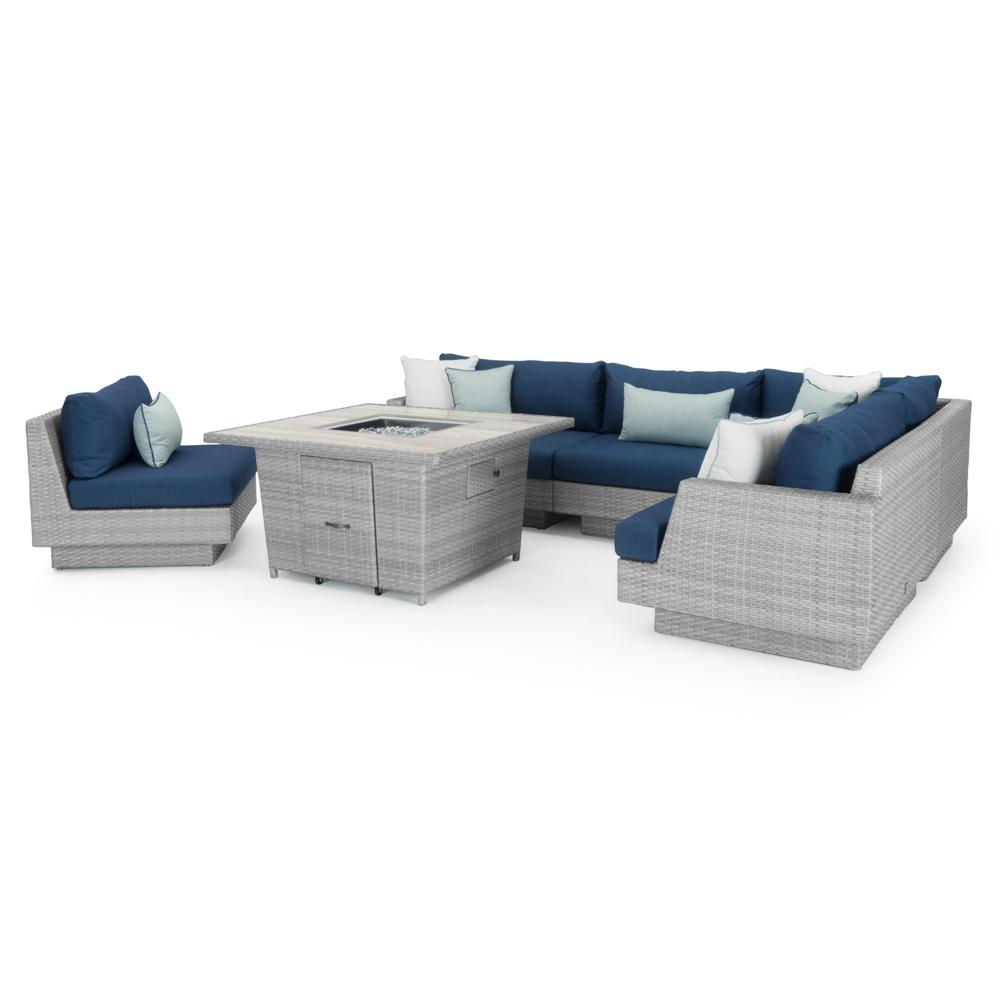 ... Portofino™ Comfort 6pc Sectional U0026 Fire Table   Laguna Blue ...
