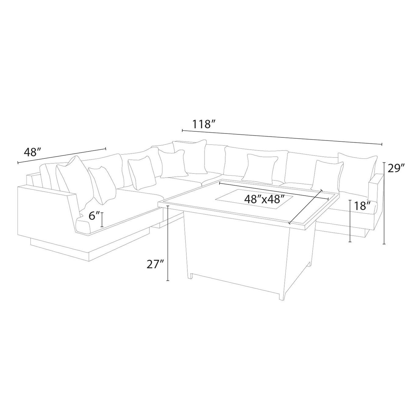 Portofino™ Comfort 6pc Sectional & Fire Table - Laguna Blue
