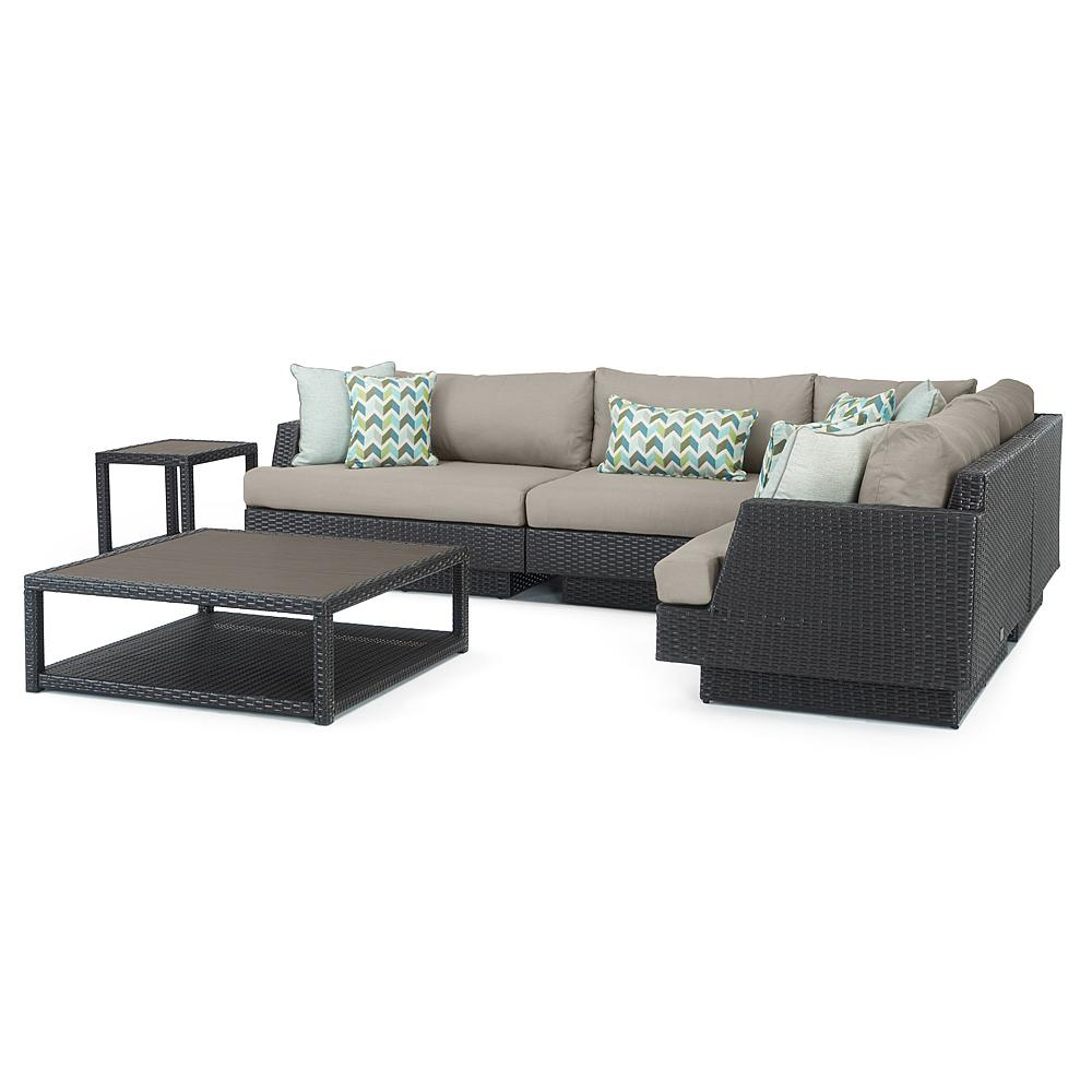 Portofino Comfort 6 Piece Wood Sectional Seating - Taupe Mist