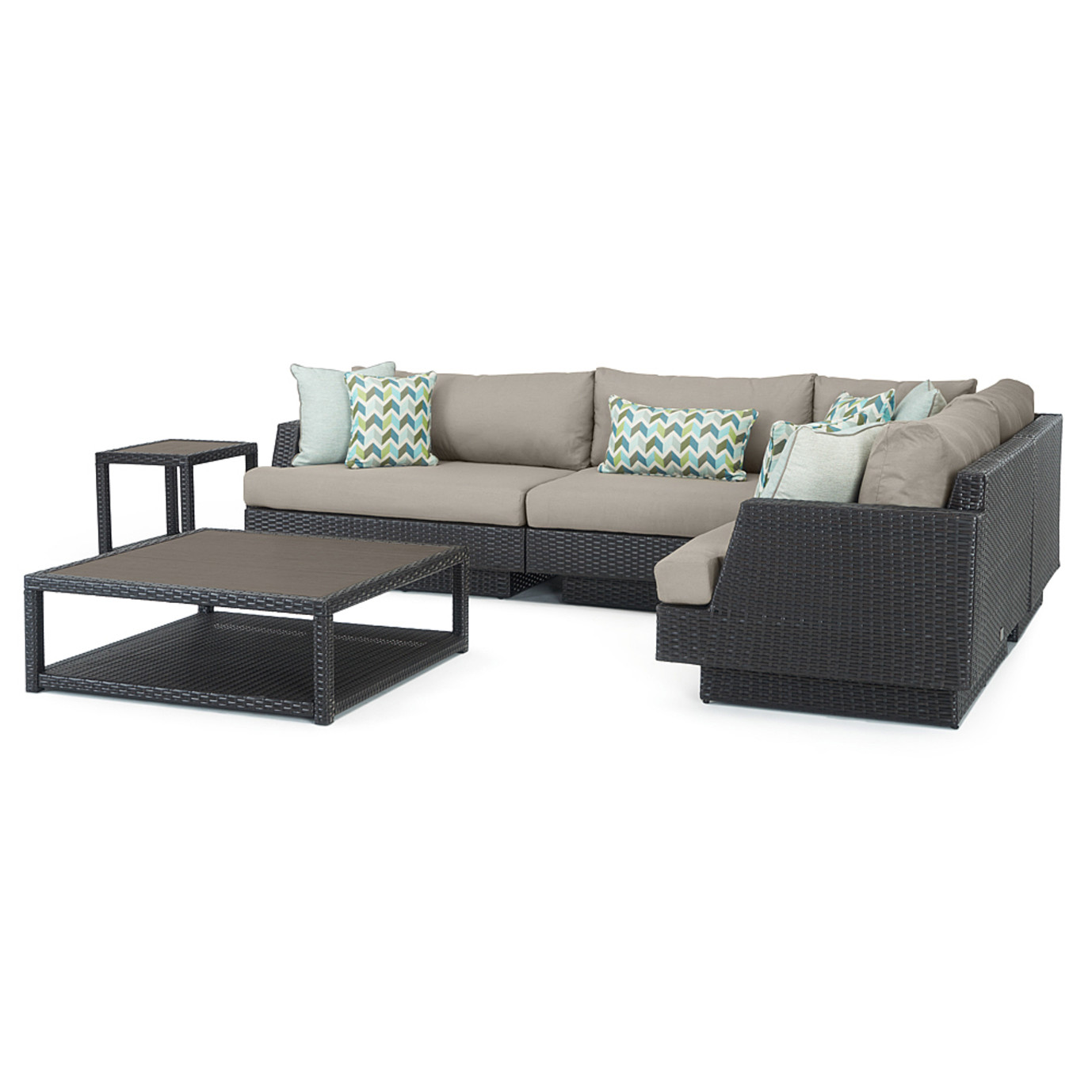 Portofino® Comfort 6 Piece Wood Sectional Seating - Taupe Mist