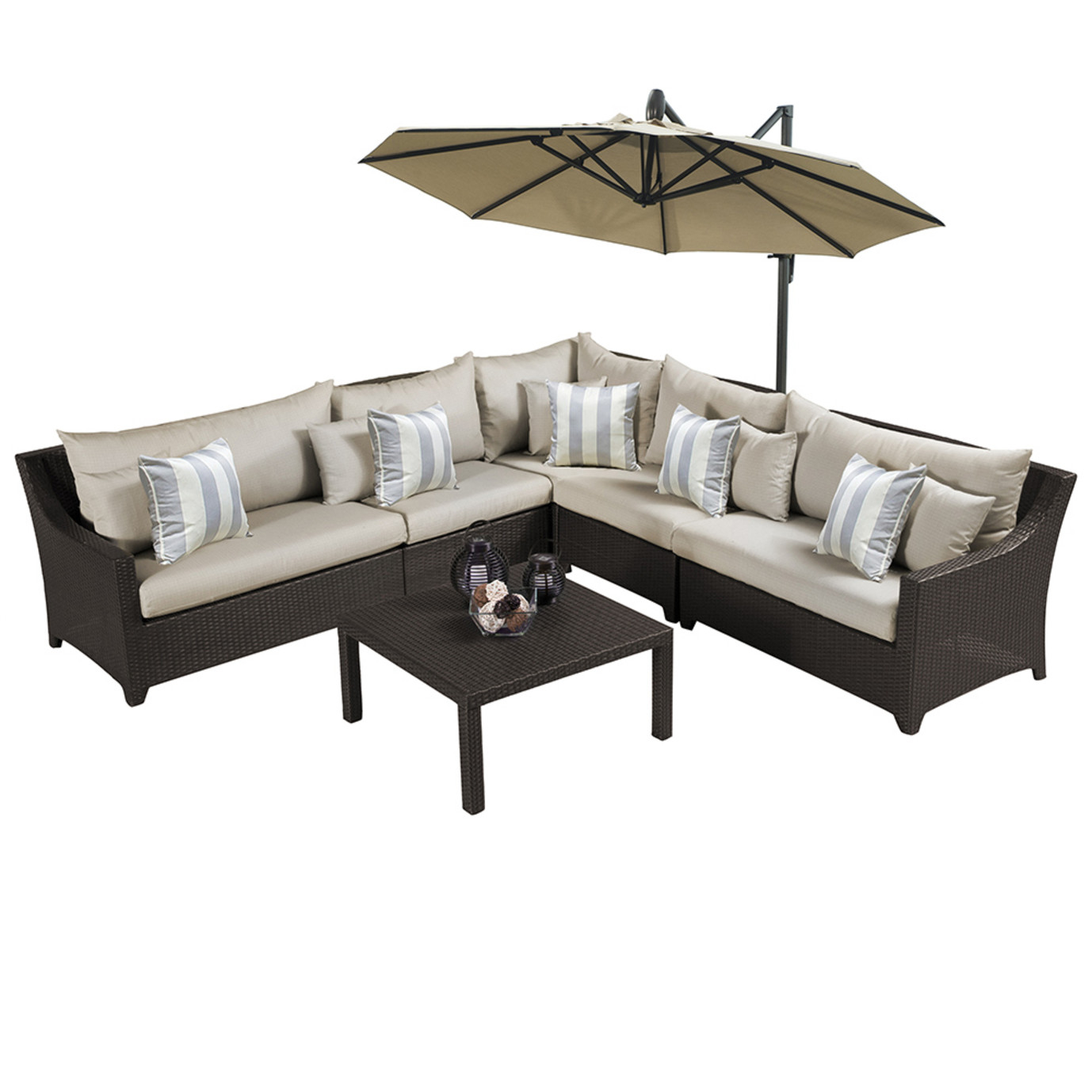 Deco™ 9pc Sectional and Table with Umbrella - Slate Gray