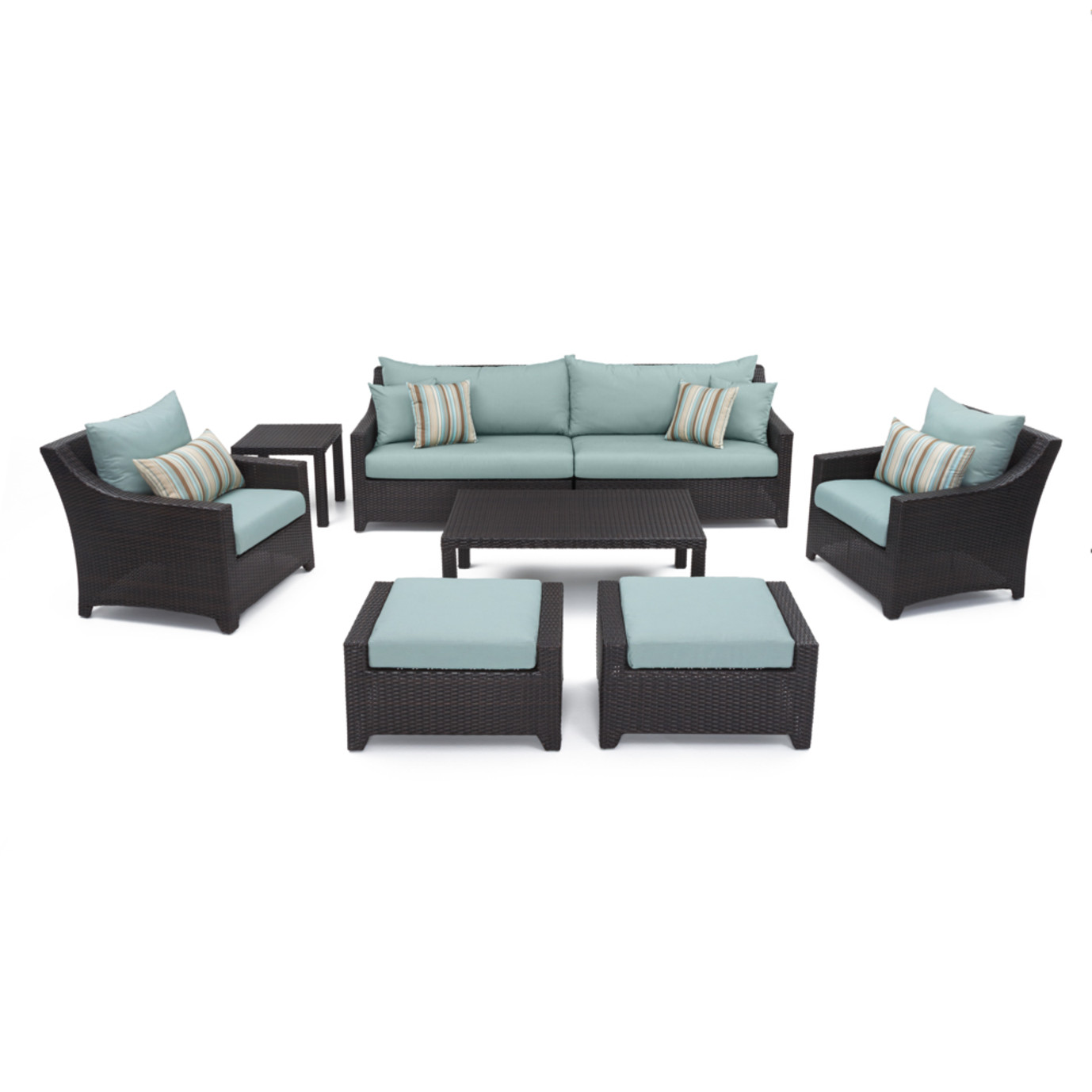 Deco™ 8 Piece Sofa and Club Chair Set - Bliss Blue