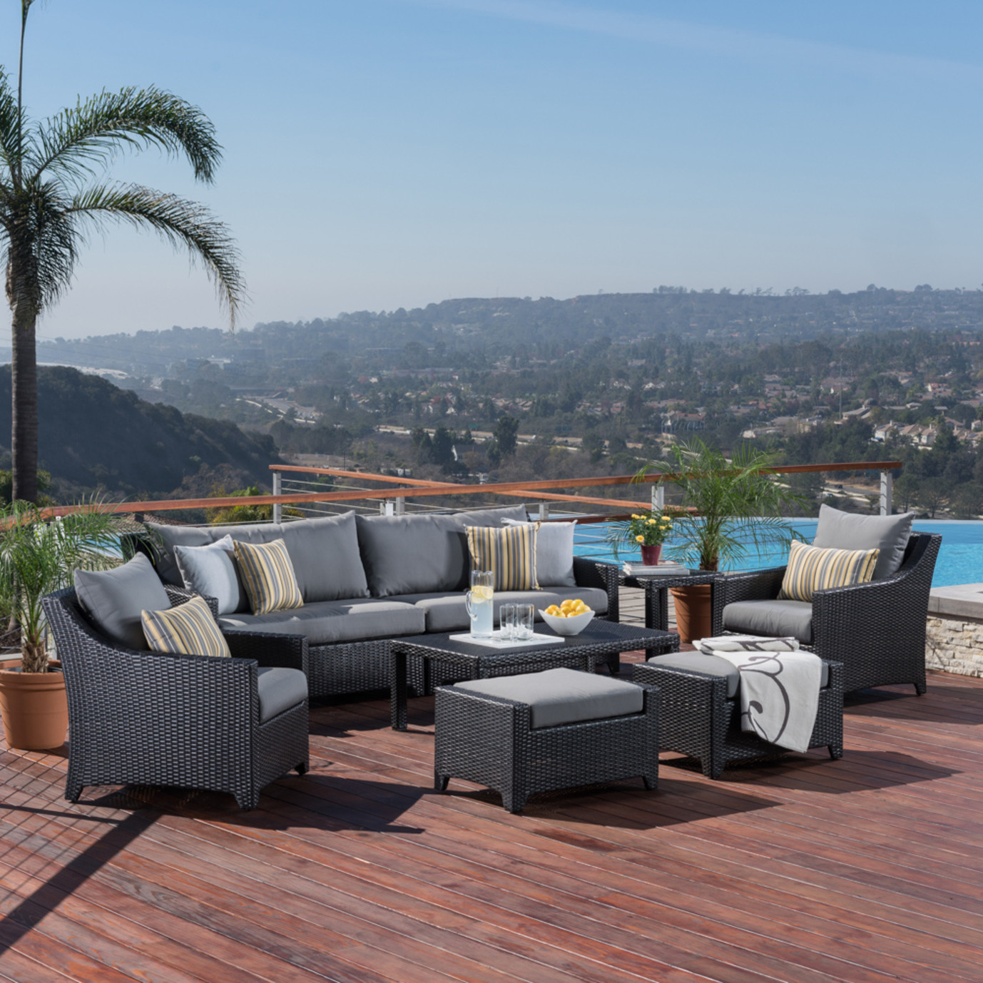 Deco™ 8pc Sofa Set with Furniture Covers - Charcoal Gray