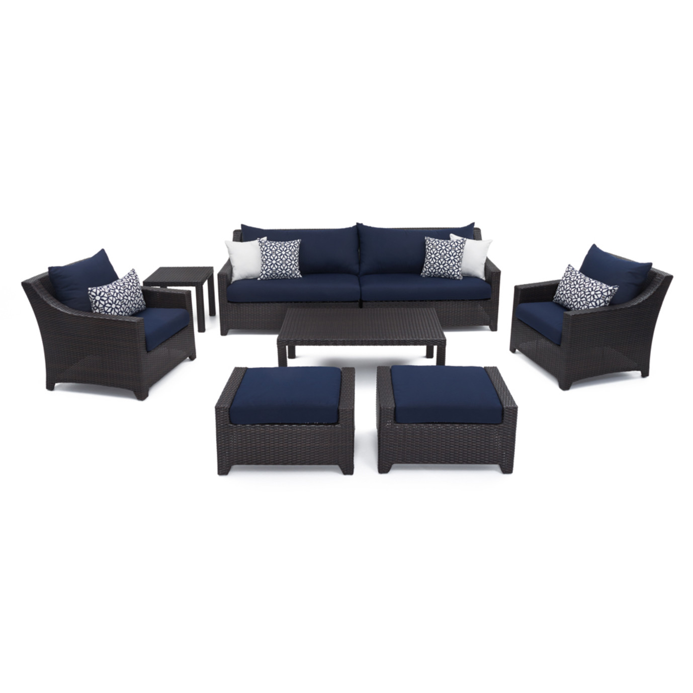 Deco 8pc Sofa Set With Furniture Covers Navy Blue Rst