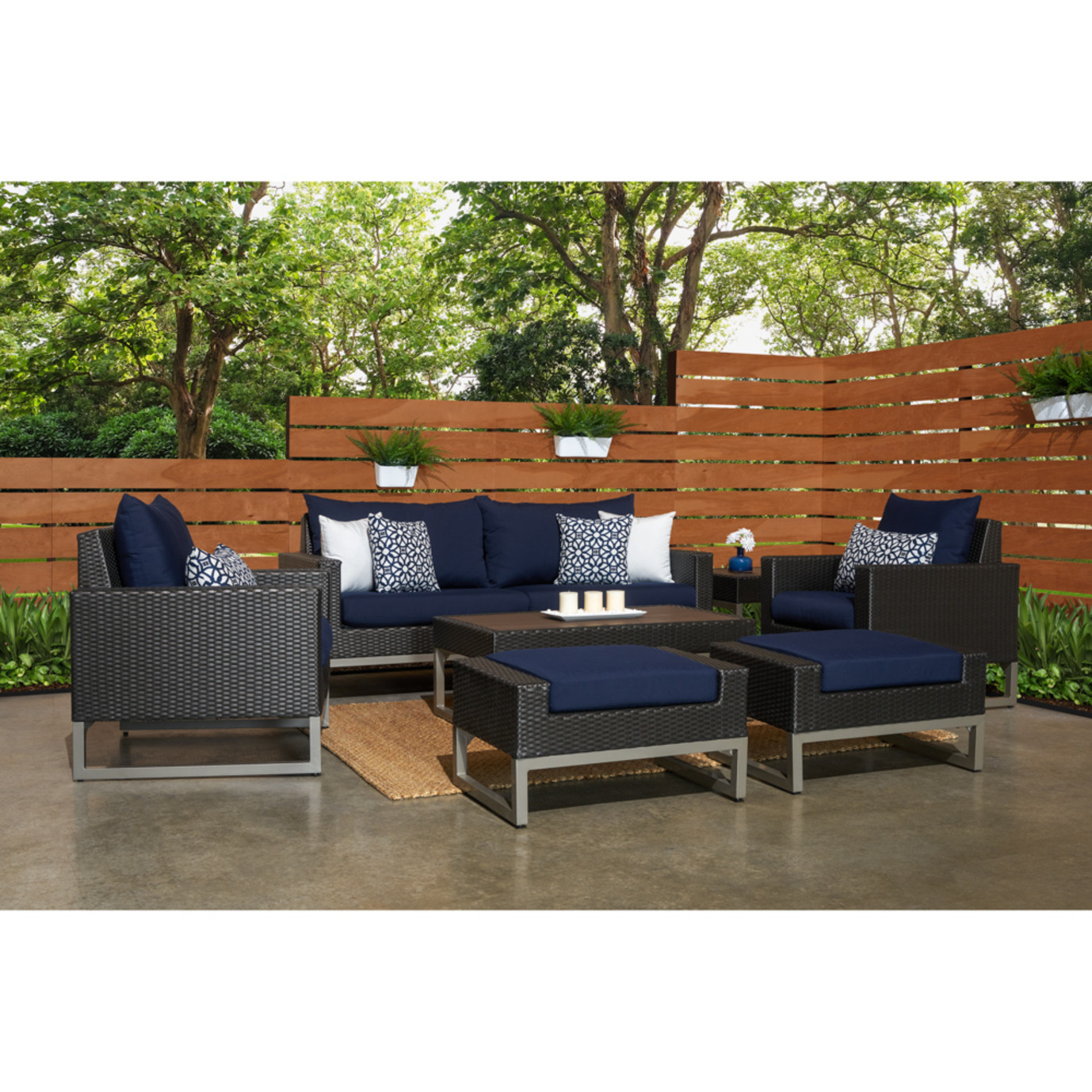 Milo™ Espresso 7pc Deep Seating Set -Navy Blue