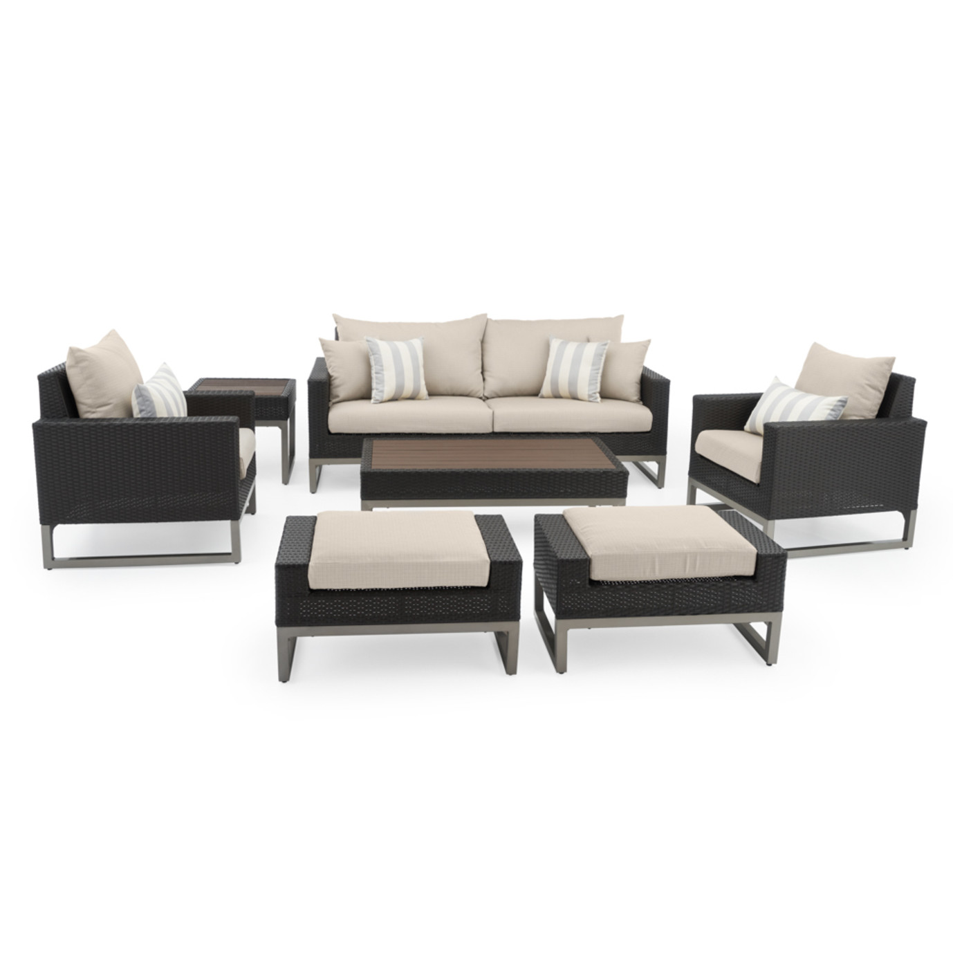 Milo™ Espresso 7pc Deep Seating Set -Slate Gray