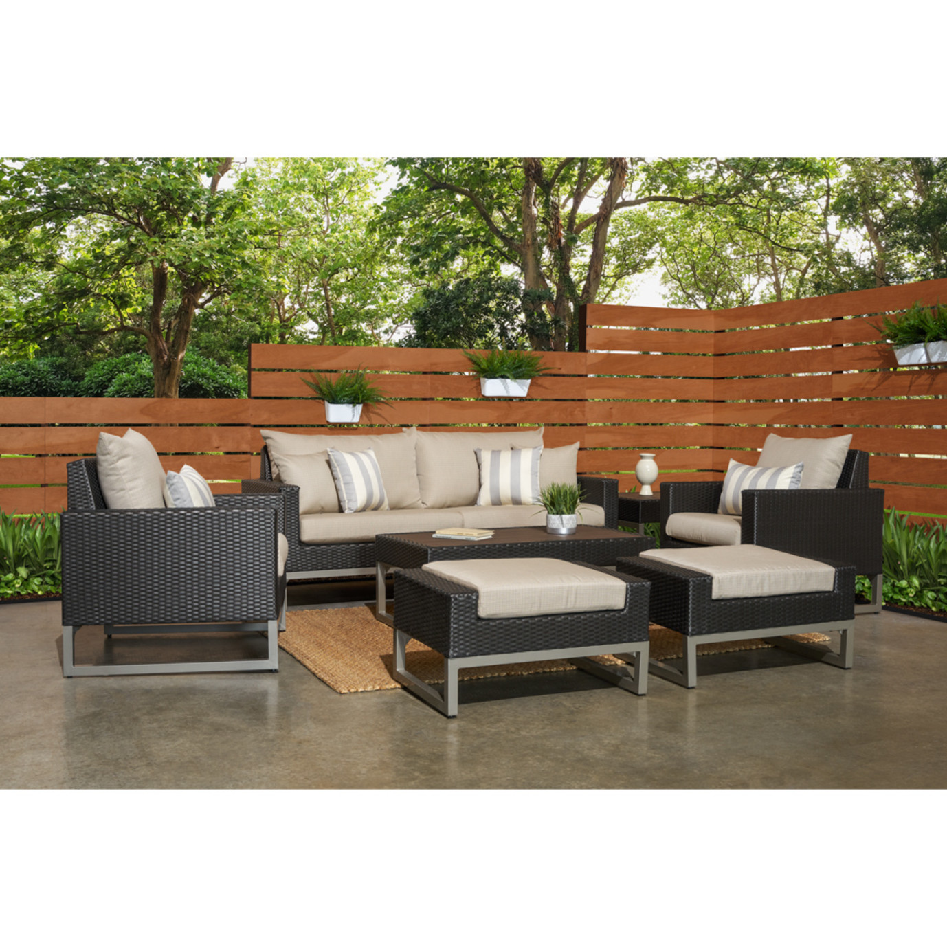 Milo™ Espresso 7 Piece Deep Seating Set -Slate Gray