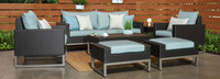 Milo™ Espresso 7 Piece Deep Seating Set - Spa Blue