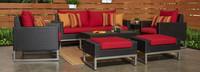 Milo™ Espresso 7 Piece Deep Seating Set -Sunset Red