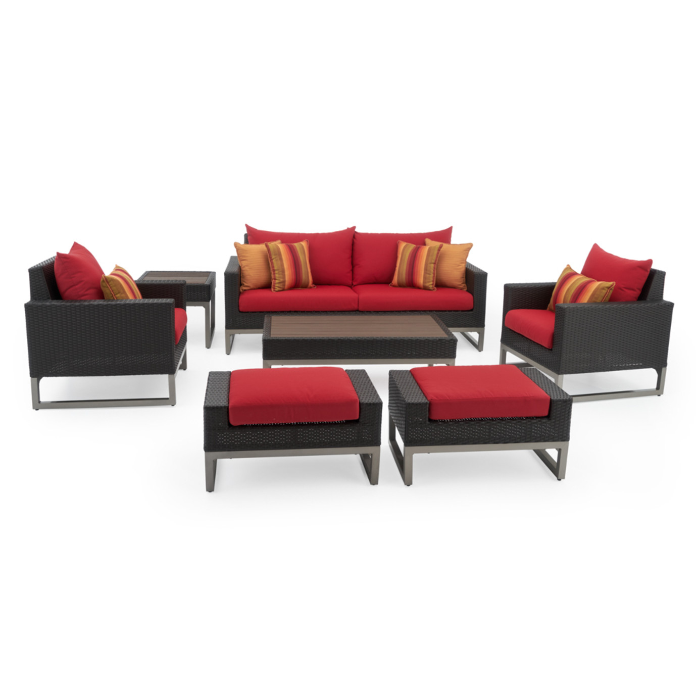 Milo™ Espresso 7 Piece Deep Seating Set -Sunset Red