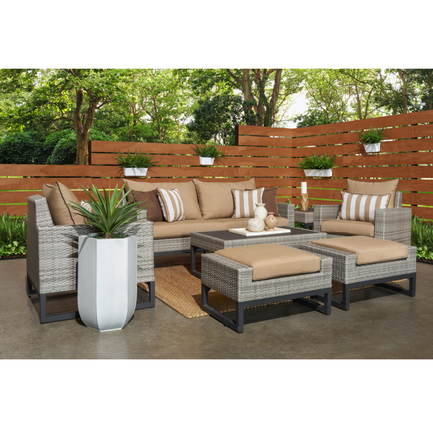 Milo™ Gray 7pc Deep Seating Set -Maxim Beige