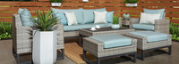 Milo™ Gray 7 Piece Deep Seating Set - Spa Blue