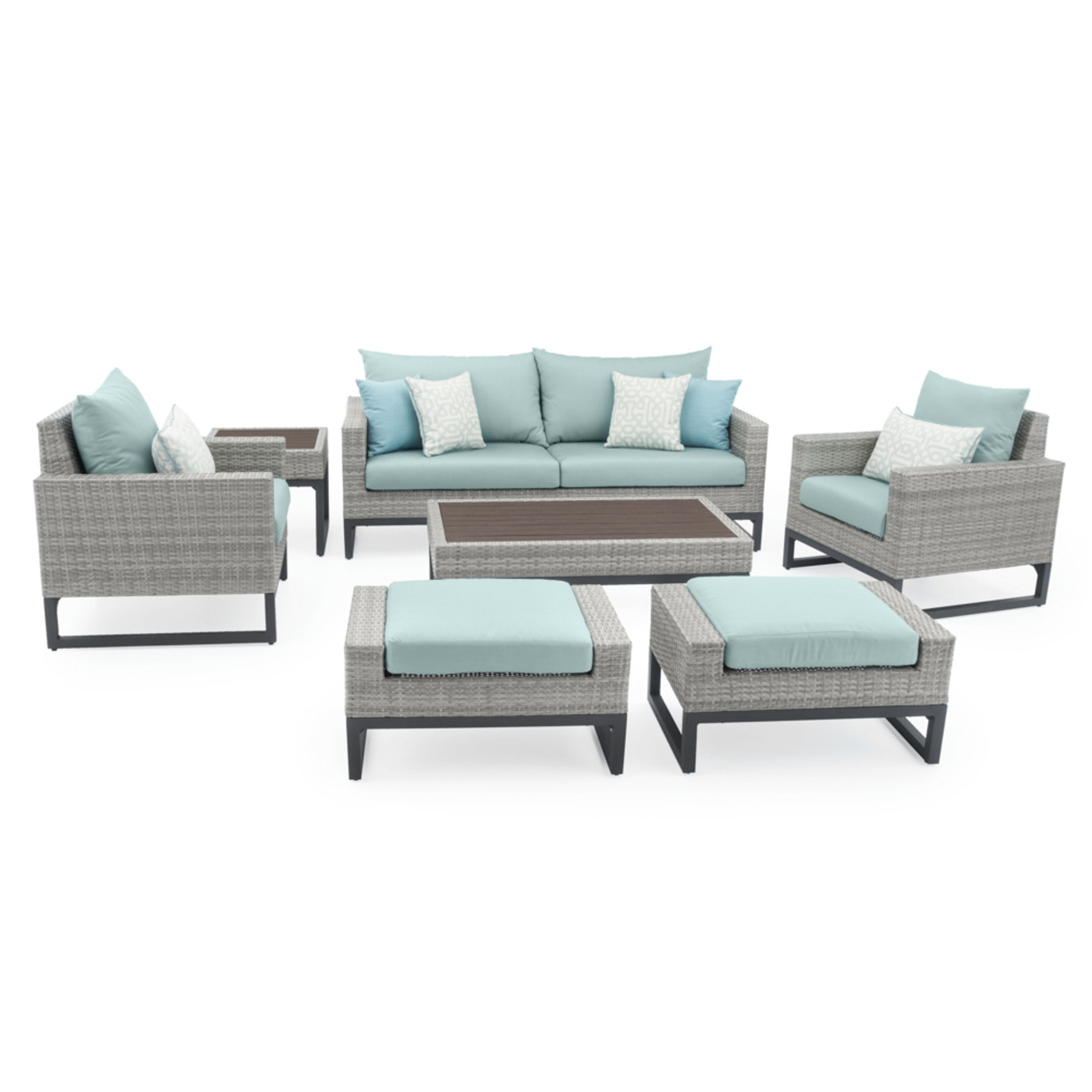 Milo™ Gray 7pc Deep Seating Set - Spa Blue