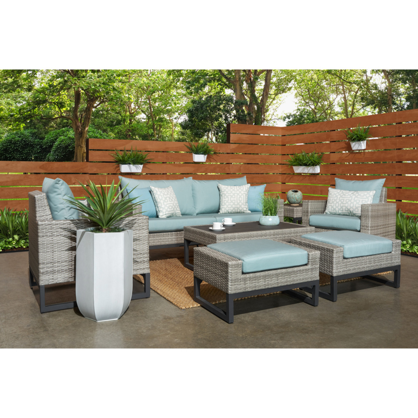 Milo™ Gray 7 Piece Deep Seating Set - Spa Blue