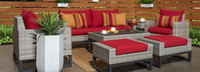 Milo™ Gray 7 Piece Deep Seating Set -Sunset Red
