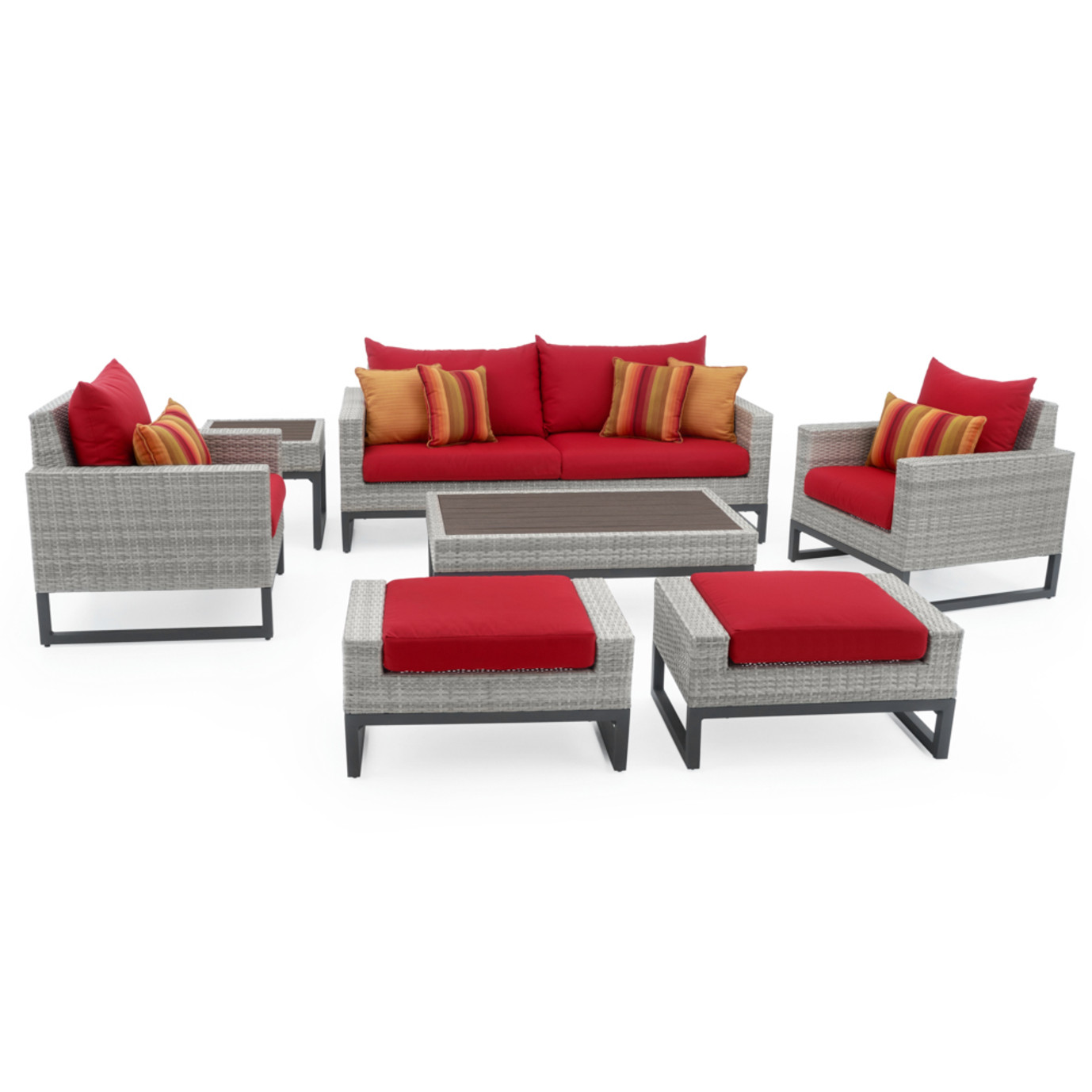 Milo™ Gray 7 Piece Deep Seating Set -Sunset Red