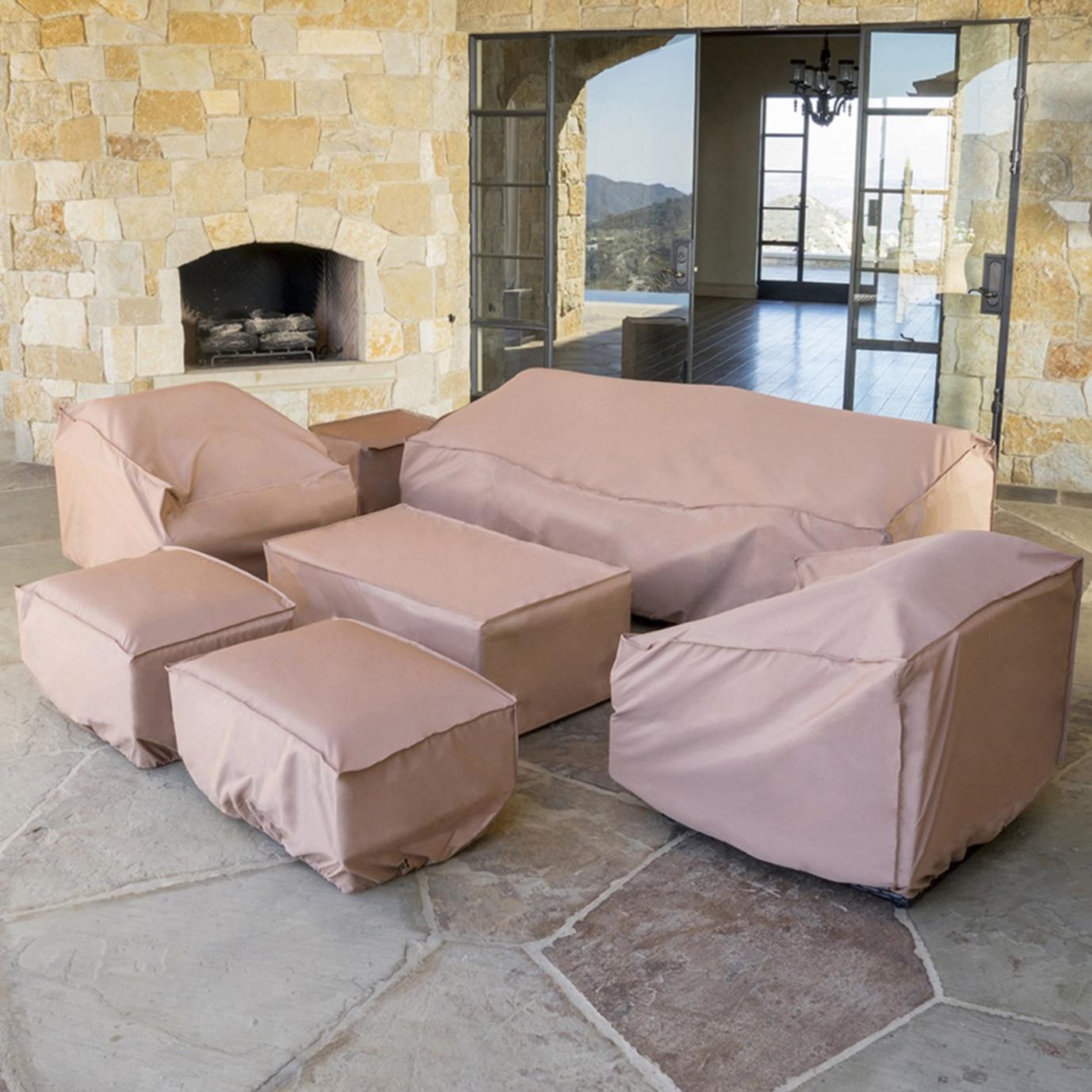 Portofino Comfort 7pc Deep Seating Set With Furniture Covers Heather Beige