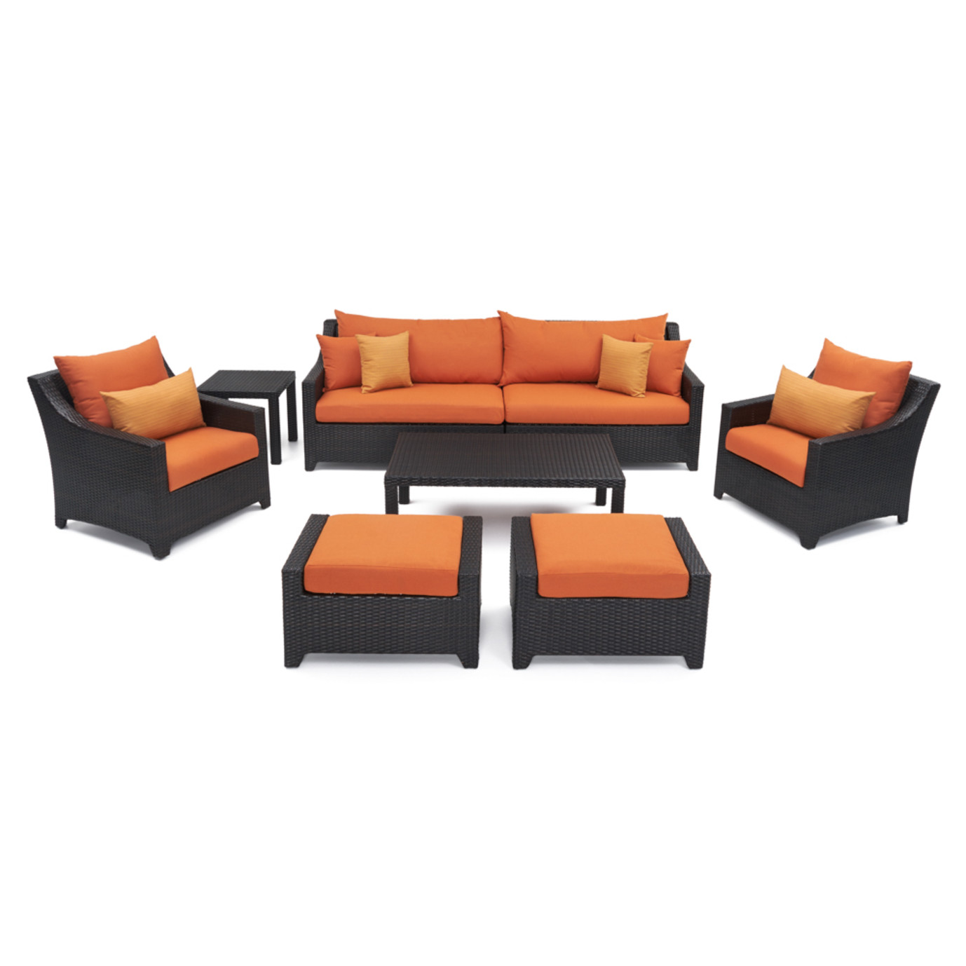 Deco™ 8 Piece Sofa and Club Chair Set - Tikka Orange