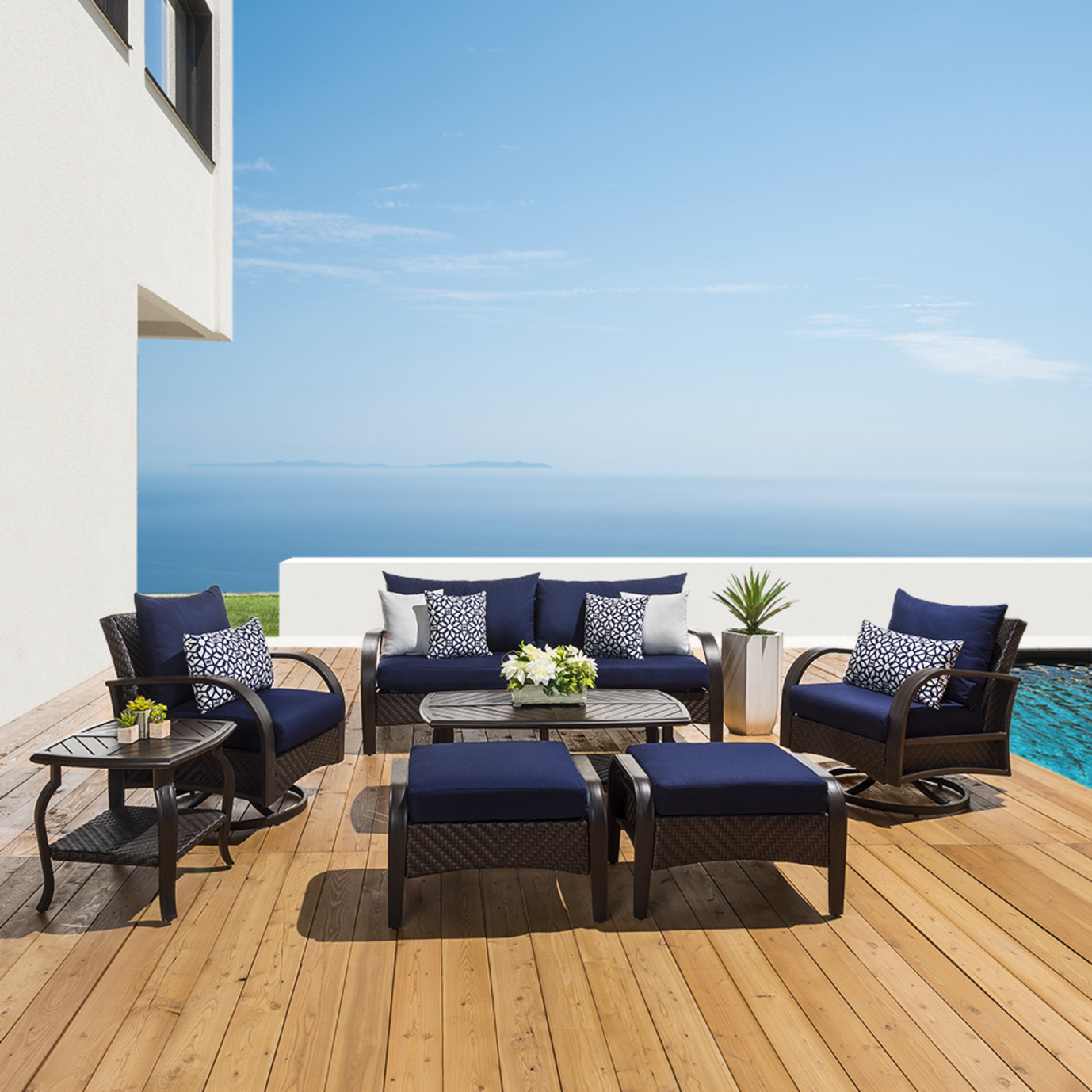 Barcelo 7pc Motion Club Deep Seating Set Navy Blue Rst