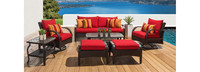 Barcelo™ 7 Piece Motion Club Deep Seating Set - Sunset Red