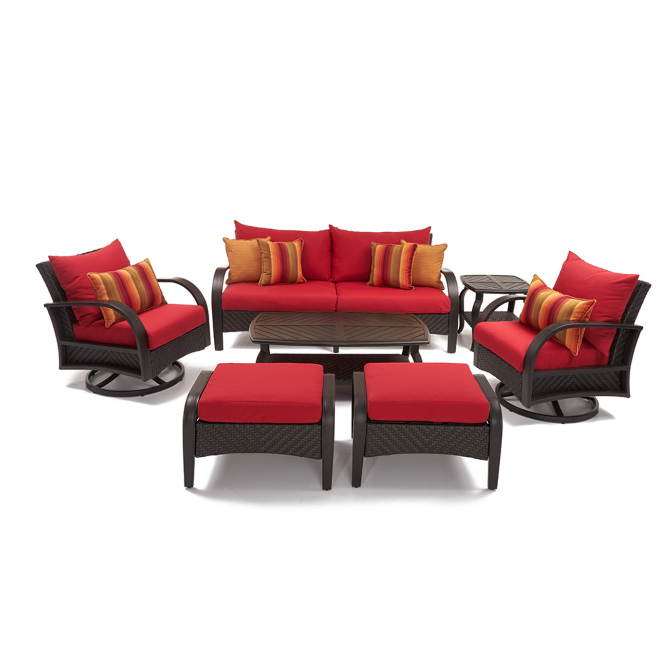 Barcelo™ 7pc Motion Club Deep Seating Set - Sunset Red