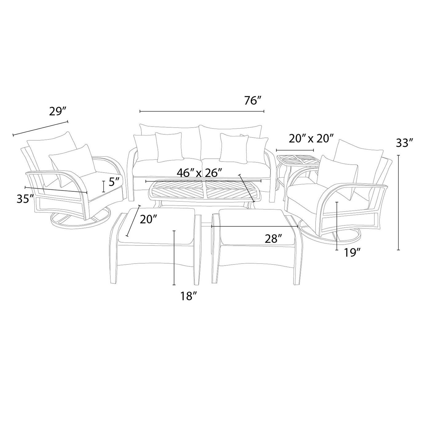 Barcelo™ 7pc Motion Club Deep Seating Set - Tikka Orange
