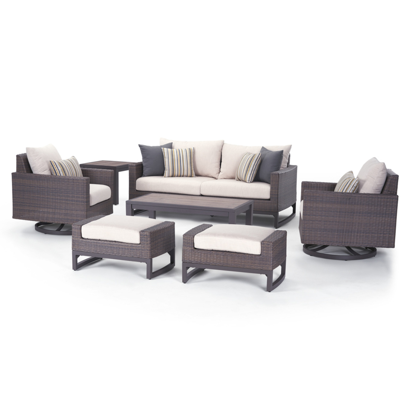 Milea 7 Piece Motion Seating Set - Natural Beige
