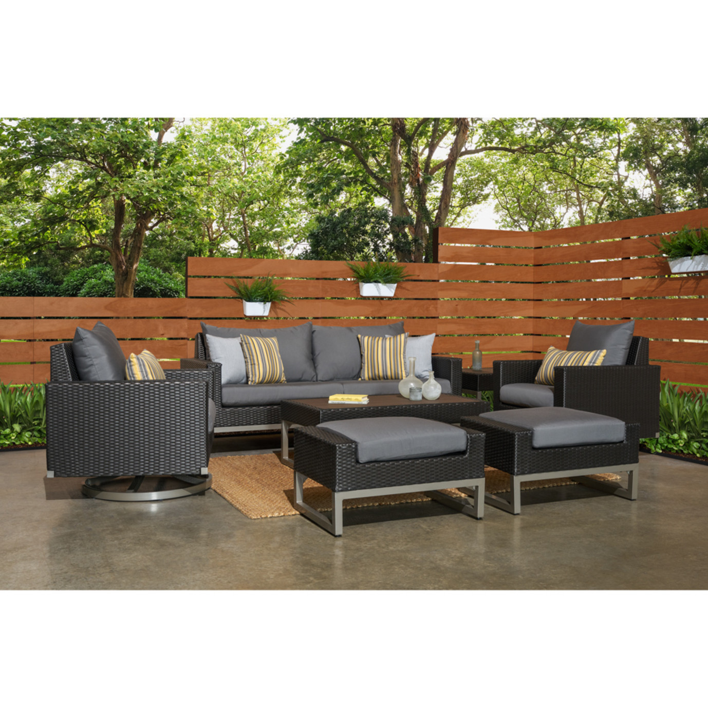 Milo™ Espresso 7 Piece Motion Deep Seating Set - Charcoal Gray