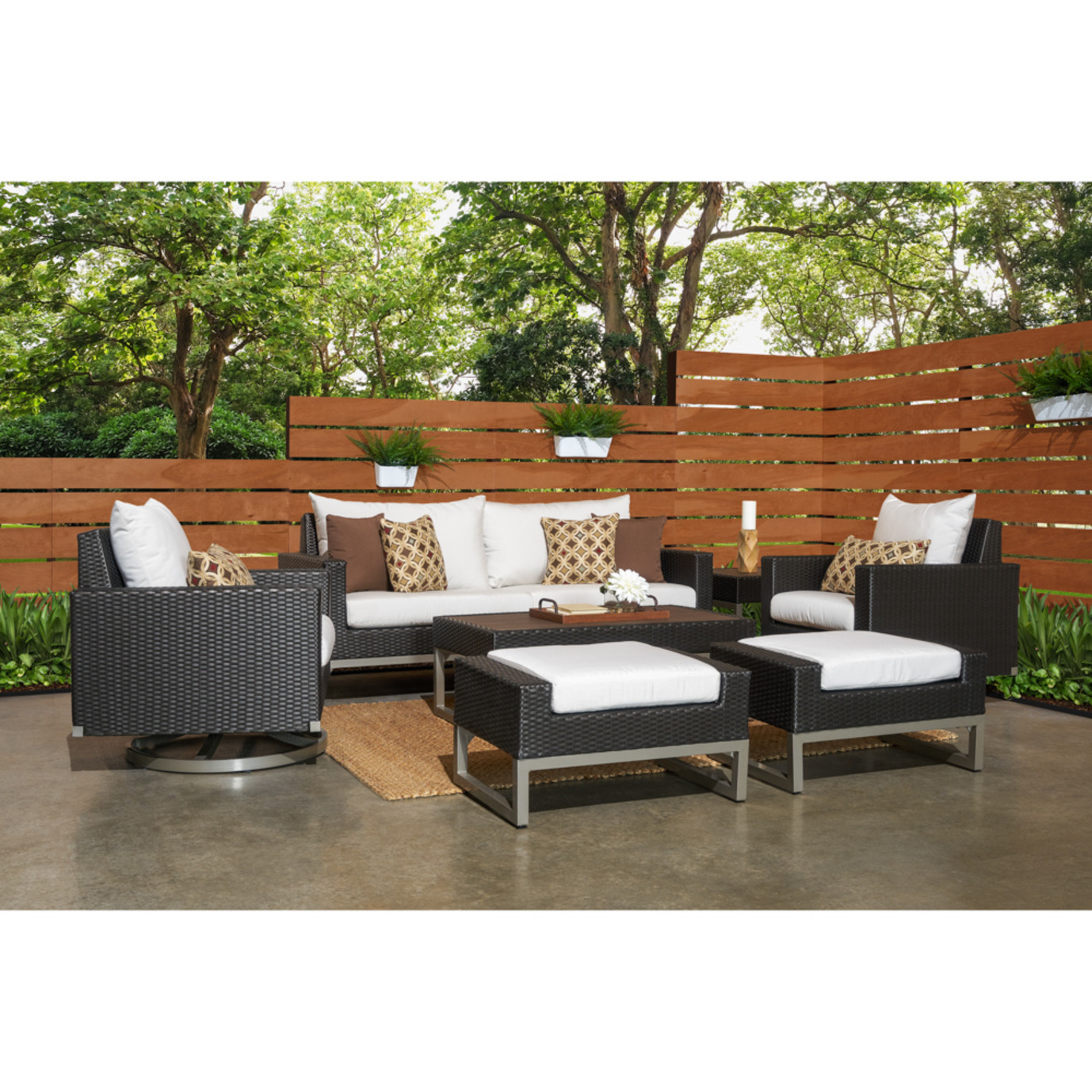 Milo™ Espresso 7 Piece Motion Deep Seating Set - Moroccan Cream