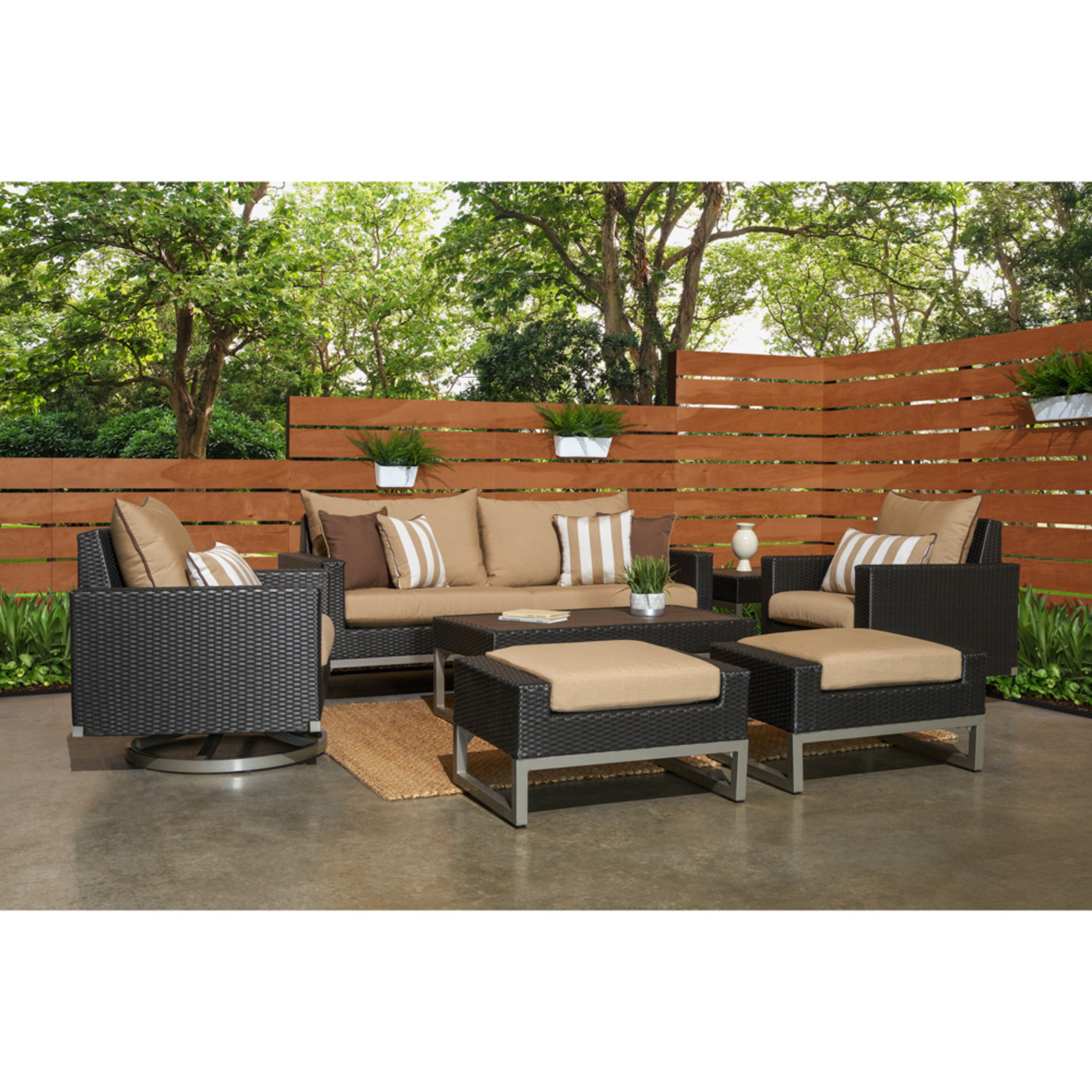 Milo™ Espresso 7 Piece Motion Deep Seating Set - Maxim Beige