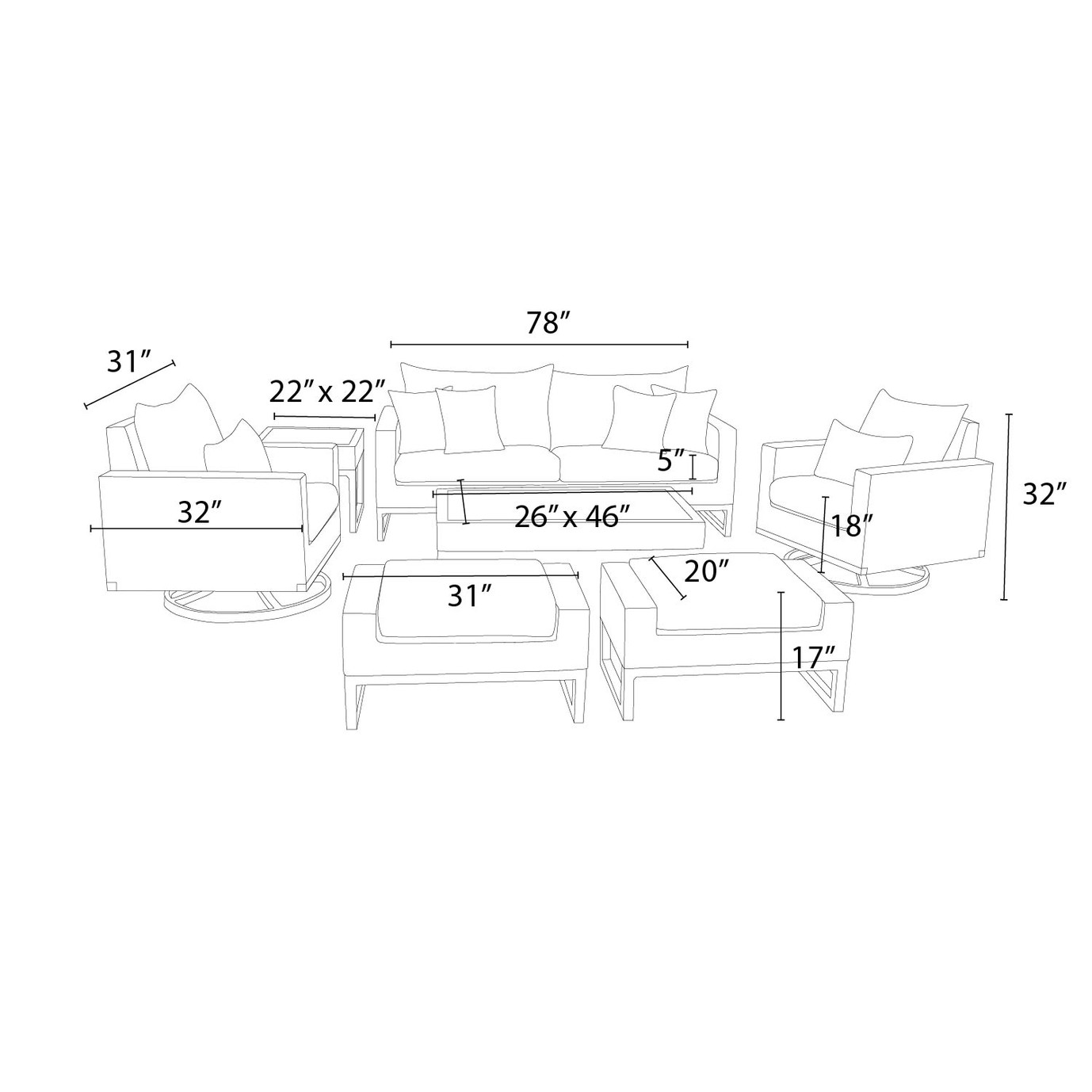 Milo™ Espresso 7pc Motion Deep Seating Set - Slate Gray