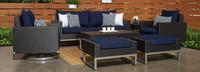 Milo™ Espresso 7 Piece Motion Deep Seating Set - Spa Blue