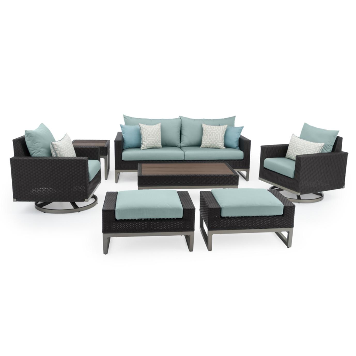 Milo™ Espresso 7pc Motion Deep Seating Set - Spa Blue