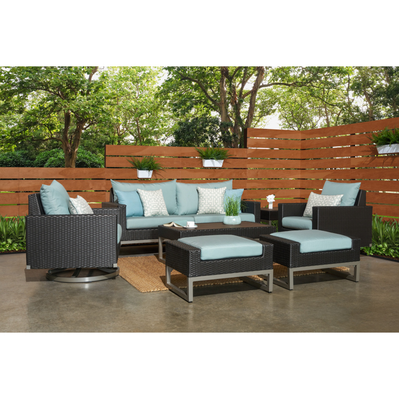 Milo™ Espresso 7 Piece Motion Deep Seating Set - Spa Blue